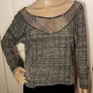 UO Sparkle & Fade Grey Loose Knit Light Sweater
